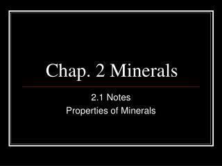 Chap. 2 Minerals