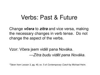 Verbs : Past & Future