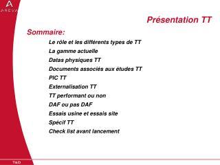 Sommaire: Le rôle et les différents types de TT La gamme actuelle Datas physiques TT