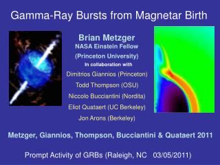 Gamma-Ray Bursts from Magnetar Birth