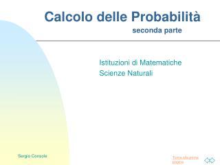 Calcolo delle Probabilità seconda parte