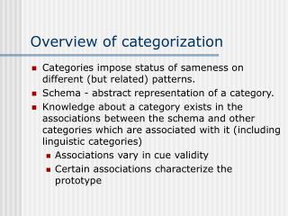 Overview of categorization