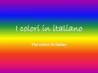 I colori in italiano