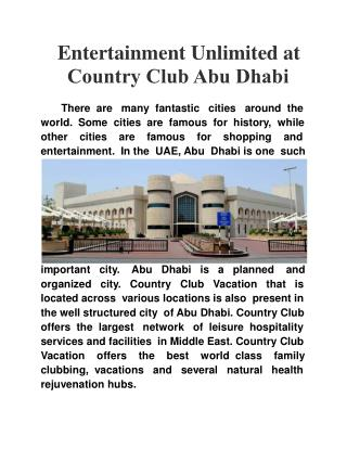 Entertainment Unlimited at Country Club Abu Dhabi