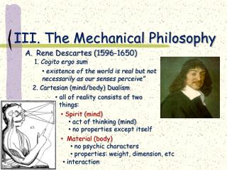 III. The Mechanical Philosophy