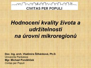 Hodnocení kvality života a udržitelnosti  na úrovni mikroregionů