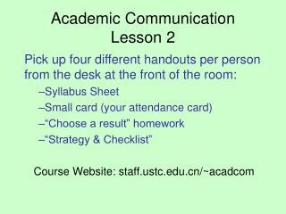Academic Communication Lesson 2