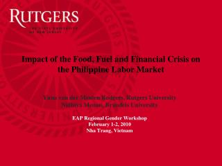 Impact of the Food, Fuel and Financial Crisis on the Philippine Labor Market