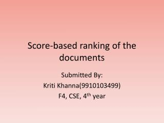 Score-based ranking of the documents