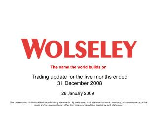 Trading update for the five months ended  31 December 2008