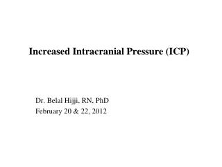 Increased Intracranial Pressure ICP