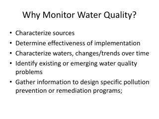 Why Monitor Water Quality?