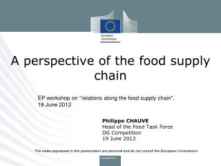 A perspective of the food supply chain