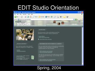 EDIT Studio Orientation