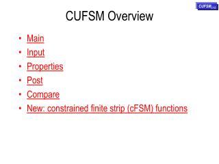CUFSM Overview