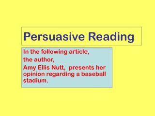 Persuasive Reading