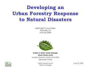 Developing an Urban Forestry Response to Natural Disasters