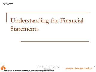 Understanding the Financial Statements