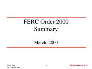 FERC Order 2000 Summary