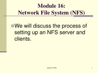 Module 16:  Network File System (NFS)