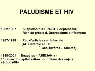 PALUDISME ET HIV