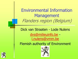 Environmental Information Management Flanders region (Belgium)