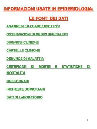 ANAMNESI ED ESAME OBIETTIVO OSSERVAZIONI DI MEDICI SPECIALISTI DIAGNOSI CLINICHE CARTELLE CLINICHE