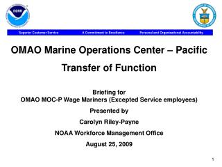 OMAO Marine Operations Center – Pacific Transfer of Function