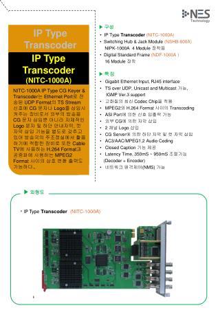 ▶ 구성 •  IP Type  Transcoder (NITC-1000A)   •  Switching Hub & Jack Module  (NSHB-800A)