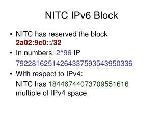 NITC IPv6 Block
