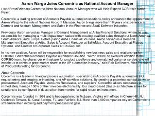 Aaron Wargo Joins Corcentric as National Account Manager