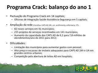 Programa  Crack : balanço do ano 1