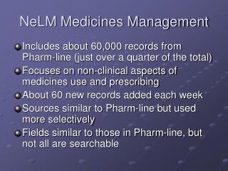NeLM Medicines Management