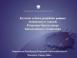 Kryteria wyboru projektów pomocy technicznej w ramach