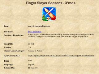 Finger Slayer Seasons - X'mas For Android