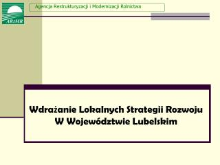 Wdrażanie Lokalnych Strategii Rozwoju W Województwie Lubelskim
