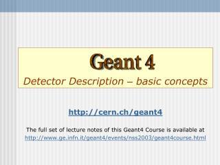 Detector Description  –  basic concepts