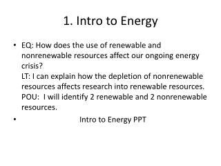 1. Intro to Energy