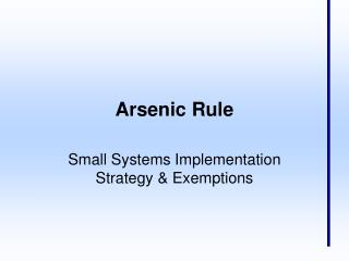 Arsenic Rule
