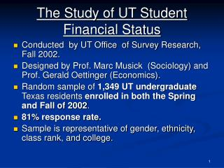 The Study of UT Student Financial Status