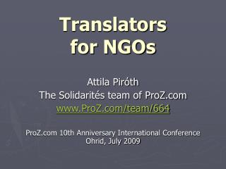Translators  for NGOs