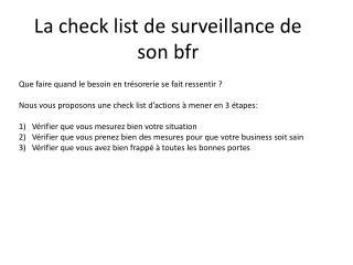 La check list de surveillance de son bfr
