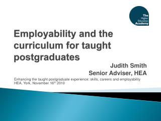 Employability and the curriculum for taught postgraduates