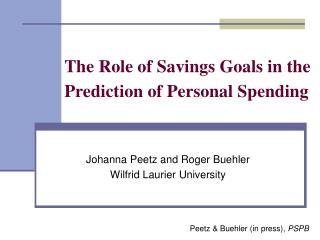 The Role of Savings Goals in the Prediction of Personal Spending