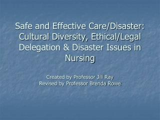 Safe and Effective Care