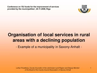 Organisation of local services in rural areas with a declining population