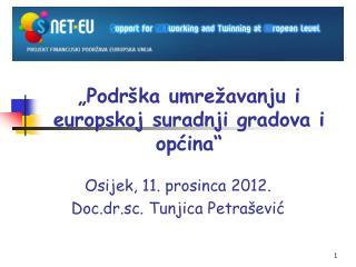 """""""Podrška umrežavanju i europskoj suradnji gradova i općina"""""""