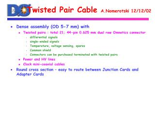 Twisted Pair Cable  A.Nomerotski 12/12/02