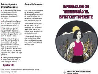 Retningslinjer etter brystkreftoperasjon: