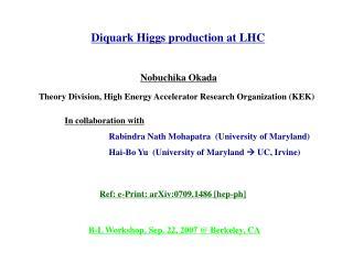 Diquark Higgs production at LHC